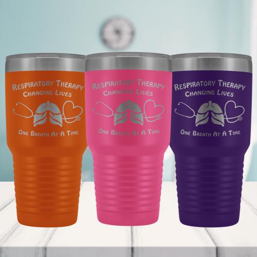 Orange, Pink and Purple Respiratory Care Week Tumblers